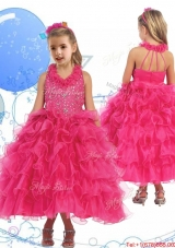 Latest Halter Top Beading and Ruffled Layers Girls Party Dress in Hot Pink