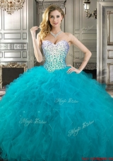 Modest Teal Really Puffy Sweetheart Quinceanera Gown with Beading and Ruffles