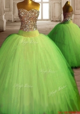 Beautiful Really Puffy Beaded Quinceanera Dress in Spring Green