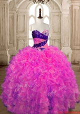 Fashionable Puffy Skirt Organza Quinceanera Gown with Beading and Ruffles