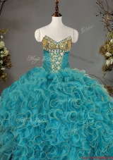 Luxurious V Neck Beaded and Ruffled Quinceanera Gown in Organza