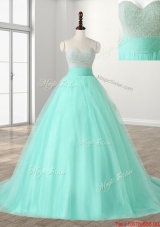 Perfect Beaded Bodice Apple Green Sweet 16 Dress with Brush Train