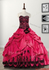 Popular Handcrafted Flowers and Bubble Sweet 16 Dress in Taffeta