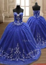 Exquisite Brush Train Applique Quinceanera Dress in Royal Blue