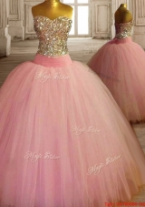 New Arrivals Baby Pink Tulle Quinceanera Dress with Beaded Bodice