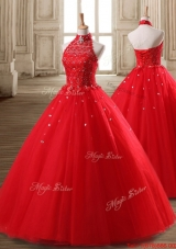 Discount Beaded Tulle Red Quinceanera Dress with Halter Top