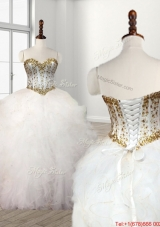 Elegant Visible Boning White Sweet 16 Dress with Beaded Bodice and Ruffles