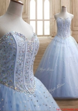 Beautiful Visible Boning Beaded Bodice Light Blue Quinceanera Dress