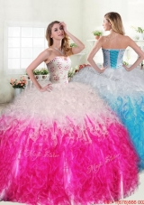 Exquisite Beaded and Ruffled Quinceanera Dress in Hot Pink and White