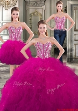 New Style Beaded and Ruffled Fuchsia Detachable Sweet 16 Dresses in Tulle