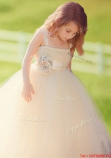 Lovely Straps Champagne Tulle Flower Girl Dress with Hand Made Flowers
