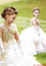 Latest Asymmetrical Neckline White Flower Girl Dress with Hand Made Flowers and Ruffled Layers