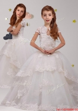 Modest Scoop Short Sleeves Laced Flower Girl Dress in White
