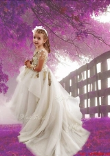 See Through Scoop Long Sleeves Court Train Flower Girl Dress with Appliques