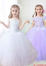 Sweet Spaghetti Straps White Flower Girl Dress with Appliques and Beading