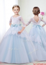 Unique Scoop Half Sleeves Laced and Bowknot Flower Girl Dress in Light Blue