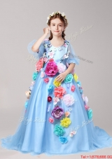 Discount V Neck Half Sleeves Baby Blue Girls Party Dress with Hand Made Flowers