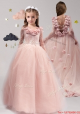 Luxurious Scoop Long Sleeves Applique and Ruffled Mini Quinceanera Dress in Tulle