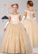 New Style Off the Shoulder Cap Sleeves Laced Mini Quinceanera Dress in Champagne