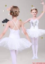 Pretty Spaghetti Straps White Short Girls Party Dress with Appliques