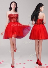 Beautiful Beaded Tulle A Line Prom Dress in Red