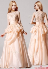 Beautiful Scoop Peach Prom Dress with Pick Ups and Appliques