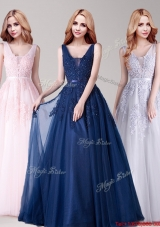 Cheap V Neck Applique and Belted Prom Dress in Tulle