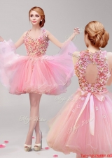 Classical Halter Top Hand Made Flowers and Ruffled Short Prom Dress in Rose Pink
