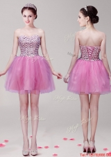 Discount Beaded Bodice Mini Length Prom Dress in Tulle