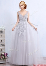 Discount V Neck Applique and Belted Grey Prom Dress with Brush Train