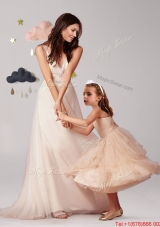 Gorgeous Straps Brush Train Prom Dress with Beading and Sweet Champagne Little Girl Dress with Appliques and Ruffled Layers