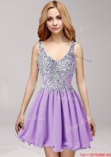 Gorgeous Straps Lilac Short Prom Dress with Beading and Ruffles