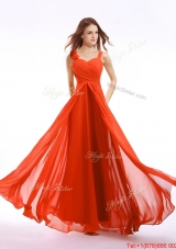 Lovely Straps Hand Made Flowers Prom Dress in Orange Red