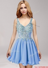 Lovely Straps Mini Length Prom Dress with Beading and Ruffles
