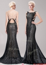 Luxurious Square Sequined and Applique Prom Dress in Black