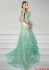 Luxurious Straps Apple Green Brush Train Prom Dress with Appliques