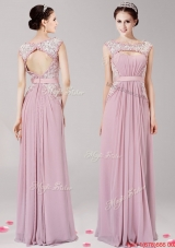 Most Popular Scoop Applique Chiffon Prom Dress in Pink