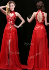 New Halter Top Laced and Sasheed Detachable Prom Dress in Red