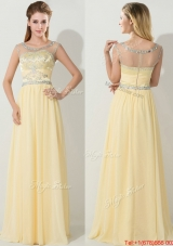 See Through Scoop Beaded Prom Dress in Light Yellow