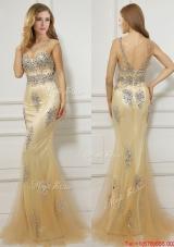 See Through Scoop Cap Sleeves Mermaid Prom Dress with Beading