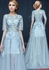 See Through Scoop Half Sleeves Applique Prom Dress in Light Blue