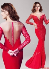 See Through Scoop Long Sleeves Red Mermaid Prom Dress with Lace