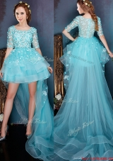 See Through Square Half Sleeves High low Prom Dress with Beading