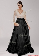 Sweet Deep V Neckline Long Sleeves Beaded and Belted Prom Dress in Black