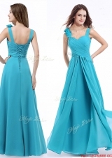 Top Selling Straps Aqua Blue Prom Dress with Hand Made Flowers