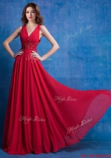 Luxurious Deep V Neckline Applique Red Prom Dress in Chiffon