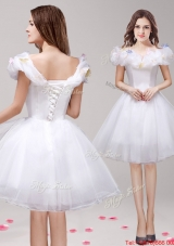 Sweet Off the Shoulder Applique and Ruffled Prom Dress in White