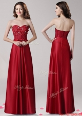 Affordable Beaded and Bowknot Empire Evening Dress in Wine Red