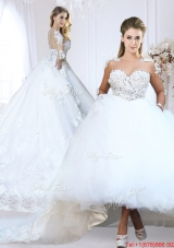 Classical See Through V Neck Long Sleeves Wedding Dress with Appliques