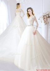 Elegant Beaded and Laced V Neck Chapel Train Wedding Dress in Tulle